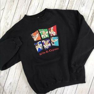 Vintage Wile E Coyote Crewneck Sweatshirt Black